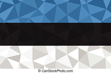 Low poly Estonia flag vector illustration. Triangular Estonian flag graphic. Estonia country flag is a symbol of independence.