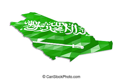 Low poly flag in Map of Saudi Arabia