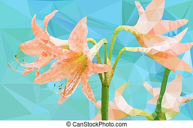 Low poly geometric of Amaryllis flower on blue background,...