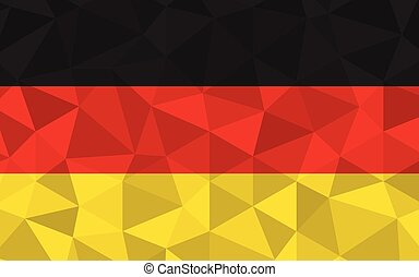 Low poly Germany flag vector illustration. Triangular German flag graphic. Germany country flag is a symbol of independence.
