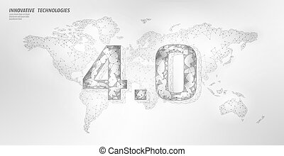 Low poly global future industrial revolution concept. Global World map human union. Online technology international connection industry management. 3D polygonal system vector illustration.