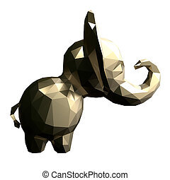 Low poly gold Elephant. 3d rendering