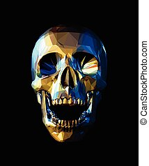 Low poly gold skull with blue reflection on dark background
