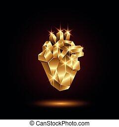 Stylized copper heart. Stylized copper heart, isolated on ...