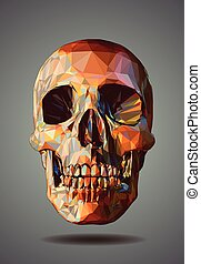 Low poly graphic skull on gray background