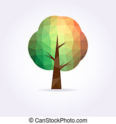 Low poly green and yellow tree icon . Vector illustration.