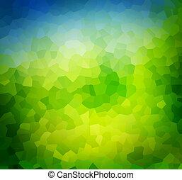 Low poly green nature background, theme. Subtle vignette
