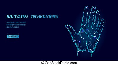 Low poly hand scan cyber security. Personal identification fingerprint handprint ID code. Information data safety access. Internet network futuristic biometrics technology identity verification vector
