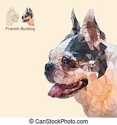 Low poly head french bulldog