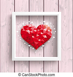 Low Poly Heart Pink Wood Frame - Low poly heart with frame ...