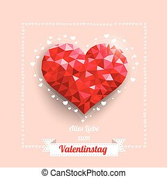 Low Poly Heart Ribbon Valentinstag - German text Alles Liebe...