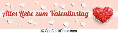 Low Poly Heart Valentinestag Header - German text Alles...