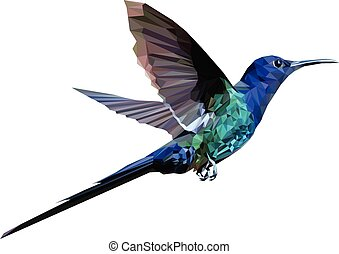 Low poly Hummingbird - Low poly vector of a flying...