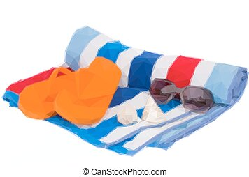 beach towel and sandals - Low poly illustration beach towel...