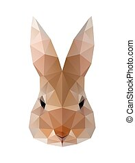 Low poly illustration. Hare, rabbit - Low poly illustration...