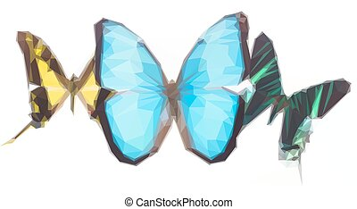 Tropical butterflies row - Low poly illustration of Tropical...