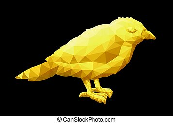 Low poly illustration with little yellow bird