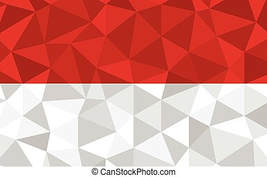 Low poly Indonesia flag vector illustration. Triangular Indonesian flag graphic. Indonesia country flag is a symbol of independence.