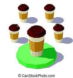 low poly Isometric Coffee Cup