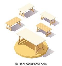 low poly isometric Office Table