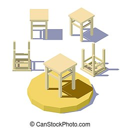 low poly isometric Stool