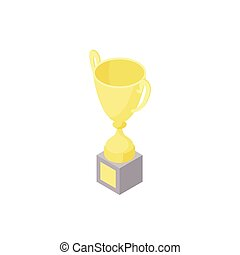 Low poly isometric trophy cup