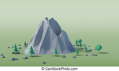 Low poly land scene with popup trees and rocks. 3D...