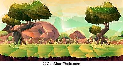 Low poly landscape. . Illustration for your design