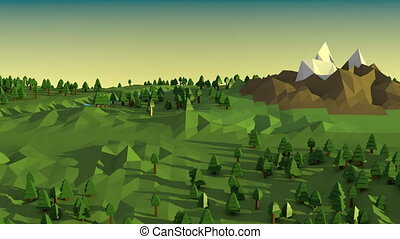 Low poly landscape. - Low poly landscape with trees, rivers,...