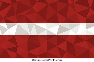 Low poly Latvia flag vector illustration. Triangular Latvian flag graphic. Latvia country flag is a symbol of independence.