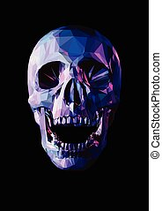 Low poly laugh skull on dark background - Laugh purple skull...