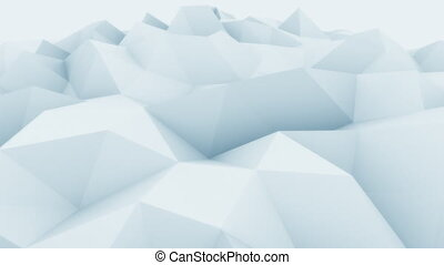 Low poly light blue abstract polygonal modern motion background for presentations and reports. 4K seamless loop animation, ProRes