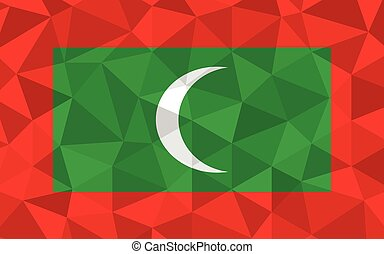 Low poly Maldives flag vector illustration. Triangular Maldivian flag graphic. Maldives country flag is a symbol of independence.