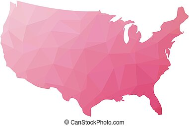 Low poly map of USA. Vector illustration made of pink...