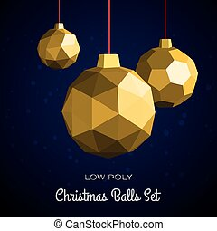 Low poly merry christmas balls vector illustration. Happy...