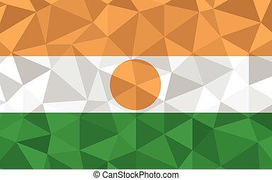 Low poly Niger flag vector illustration. Triangular Nigerien flag graphic. Niger country flag is a symbol of independence.