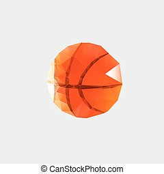 Low poly pattern basketball on a white background.