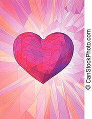 Low poly pink heart on fantastic background