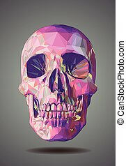 Low poly  pink skull on gray background