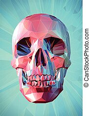 Low poly pink skull on turquoise background