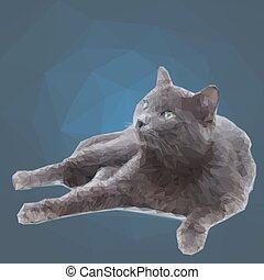 Low poly polygon design triangular gray cat