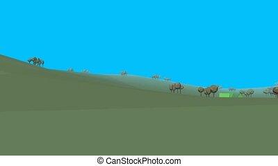 Low poly retro style landscape UHD 4k