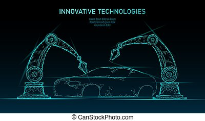 Low poly robotic arm assembly car automation technology. Industrial business factory robot machine welder. Auto body welding android hand polygon blue triangle geometric vector illustration
