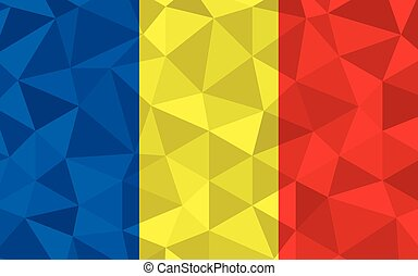 Low poly Romania flag vector illustration. Triangular Romanian flag graphic. Romania country flag is a symbol of independence.