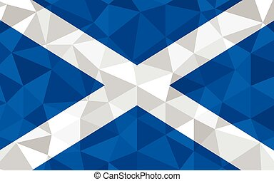 Low poly Scotland flag vector illustration. Triangular Scottish flag graphic. Scotland country flag is a symbol of independence.