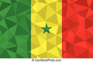 Low poly Senegal flag vector illustration. Triangular Senegalese flag graphic. Senegal country flag is a symbol of independence.