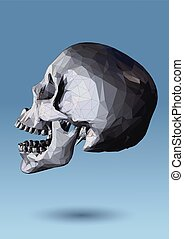 Low poly skull side view on blue background