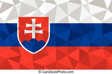 Low poly Slovakia flag vector illustration. Triangular Slovak flag graphic. Slovakia country flag is a symbol of independence.