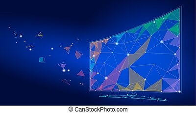 Low poly smart tv screen video. Polygonal virtual reality desktop future technology display connected point line dots art. Innovation PC vector illustration