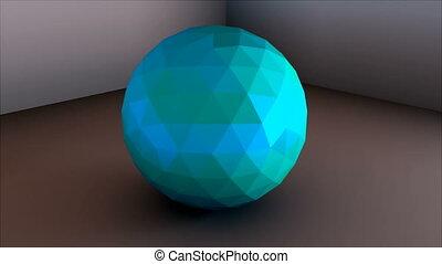 Low poly sphere is in the corner, simple shape, 3d rendering...